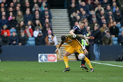 Anthony Knockaert of Brighton and Hove Albion tussles for the ball with Shane Ferguson of Millwall - Mandatory by-line: Arron Gent/JMP - 17/03/2019 - FOOTBALL - The Den - London, England - Millwall v Brighton and Hove Albion - Emirates FA Cup Quarter Final