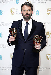 Ben Affleck poses with his Best Film and Best Director Awards for Django Unchaineds Award in the press room of the BAFTA British Academy Film Awards 2013 at the Royal Opera House in London, Britain, Sunday February 10, 2013. Photo by Imago / i-Images. UK ONLY..