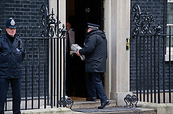 © London News Pictures. 18/03/2013 . London, UK.  The Newspapers being delivered to number 10 Downing street on the dat that a lots will take place at parliament on press regulation. Photo credit : Ben Cawthra/LNP