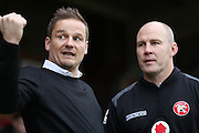 AFC Wimbledon manager Neal Ardley & Walsall manager Jon Whitney during the EFL Sky Bet League 1 match between AFC Wimbledon and Walsall at the Cherry Red Records Stadium, Kingston, England on 25 February 2017. Photo by Stuart Butcher.