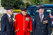 Charles Jeffries, 93 D-day/Dessert Rat, John Cuthbert, 92, Peter Kent, 90 Royal Navy (L to R) - Second World War Veterans, Reg Wilderspin (89) and John Cuthbert (92), and serving Guardsmen on Horse Guards Parade Ground to highlight Royal British Legion events on Victory in Europe (VE) Day. The Legion is also announcing that veterans and their carers will receive funding towards attending the event on the weekend of the 8-10th May.<br /> <br /> Places will be available for a series of commemorative events over the weekend including on VE Day itself, Friday 8 May, when a Service of Remembrance will be held at The Cenotaph, with a national two minute silence at 3pm. On Sunday 10 May, there will a Service of Thanksgiving at 11am at Westminster Abbey attended by HM The Queen, followed by a parade from the Abbey to Horse Guards Parade and into St James&rsquo;s Park, where the Legion will host a lunch reception for the veterans.