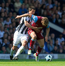 30.04,2011, Hawthorns, West Bromwich, ENG, PL, West Bromwich Albion FC vs Aston Villa FC, im Bild West Bromwich Albion's Paul Scharner pulls down Aston Villa's Stiliyan Petrov for a second yellow card which resulted in him being sent off during the Premiership match at the Hawthorns, EXPA Pictures © 2011, PhotoCredit: EXPA/ Propaganda/ *** ATTENTION *** UK OUT!