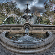 City Hall Park fountain in Manhattan, New York.