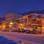 A night image of the town of Truckee CA in winter.