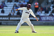 Marcus Trescothick of Somerset uses a nimble bit of footwork to stop the ball during the Specsavers County Champ Div 1 match between Somerset County Cricket Club and Lancashire County Cricket Club at the Cooper Associates County Ground, Taunton, United Kingdom on 5 September 2018.