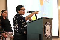 MIranda Mossey of The Epicenter at the podium during the December 5th opening of the Stories from Salinas exhibition at the CSUMB Salinas Center for Arts and Culture in Oldtown. The exhibition celebrates the mentors, youth and families of the Salinas Youth Initiative.