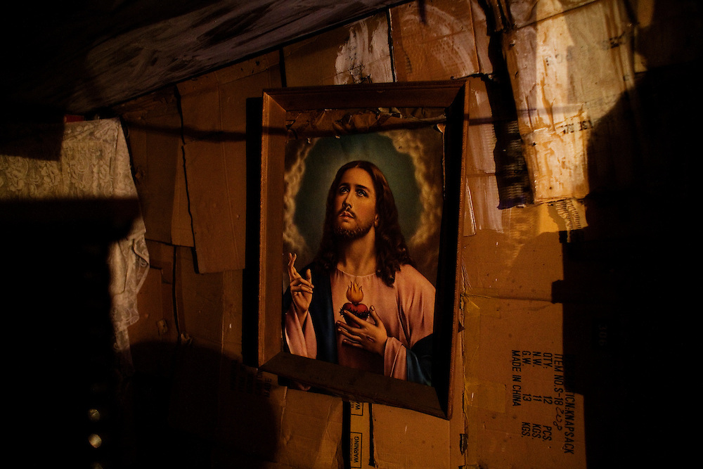 A portrait of Jesus hangs in a home in the Stara Gazela settlement.