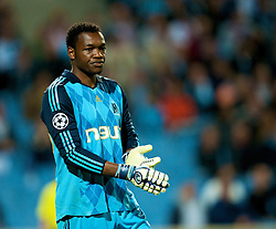 MARSEILLE, FRANCE - Tuesday, September 16, 2008: Olympique de Marseille's goalkeeper Steve Mendanda in action against Liverpool during the opening UEFA Champions League Group D match at the Stade Velodrome. (Photo by David Rawcliffe/Propaganda)