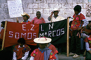 = demonstration of pro zapatist indian villages of   Chiapas  Mexico     /// manifestation des indiens pro Zapatistes des villages du  Chiapas  Mexique  +