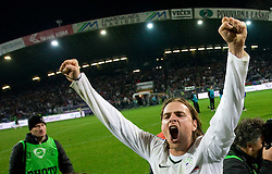 Nejc Pecnik of Slovenia  celebrates at  FIFA World Cup Sout Africa 2010 Qualifying Second Play off match between Slovenia and Russia, on November 18, 2009, in Stadium Ljudski vrt, Maribor, Slovenia. Slovenia won 1:0 and qualified for the FIFA World Championships 2010. (Photo by Vid Ponikvar / Sportida)