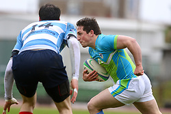 George Skofic during rugby match between National team of Slovenia (green-blue) and Luxemburg (blue-white) at EUROPEAN NATIONS CUP 2014-2016 of C group 2nd division, on April 18, 2015, at ZAK Stadium, Ljubljana, Slovenia. (Photo by Matic Klansek Velej / Sportida.com)