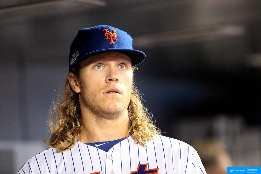 NEW YORK, NEW YORK - October 5: Pitcher Noah Syndergaard #34 of the New York Mets during the San Francisco Giants Vs New York Mets National League Wild Card game at Citi Field on October 5, 2016 in New York City. (Photo by Tim Clayton/Corbis via Getty Images)
