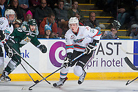 KELOWNA, CANADA - DECEMBER 30: Braydyn Chizen #22 of Kelowna Rockets skates with the puck against the Everett Silvertips on December 30, 2015 at Prospera Place in Kelowna, British Columbia, Canada.  (Photo by Marissa Baecker/Shoot the Breeze)  *** Local Caption *** Braydyn Chizen;