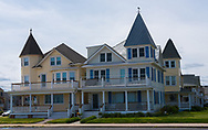 Ocean Grove, NJ USA -- May 12, 2017 -- Victorian style houses share a corner lot in Ocean Grove, at the Jersey Shore. Editorial Use Only