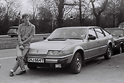 Teenager with Rover car, West London, UK, 1984