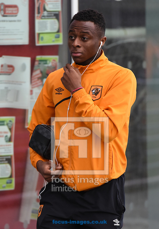 Moses Odubajo of Hull City arrives for the Sky Bet Championship match at the New York Stadium, Rotherham<br /> Picture by Richard Land/Focus Images Ltd +44 7713 507003<br /> 19/12/2015