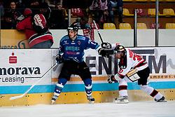02.11.2012, Hostan Arena, Znojmo, CZE, EBEL, HC Orli Znojmo vs SAPA Fehervar, 18. Runde, im Peter Hetenyi (Fehérvár #2) Jiri Beroun (Znojmo #30) // during the Erste Bank Icehockey League 18nd round match betweeen HC Orli Znojmo and SAPA Fehervar at the Hostan Arena, Znojmo, Czech Republic on 2012/11/02. EXPA Pictures © 2012, PhotoCredit: EXPA/ Rostislav Pfeffer