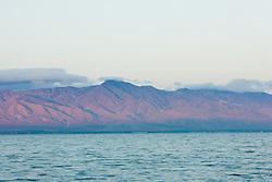 Panorama at sunrise of Salton Sea, California