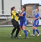 Forfar Farmington's Megan McCarthy is denied by the Hutchison Vale keeper  - Forfar Farmington v Hutchison Vale, pre-season friendly at Station Park, Forfar<br /> <br />  - &copy; David Young - www.davidyoungphoto.co.uk - email: davidyoungphoto@gmail.com