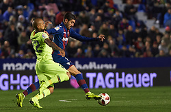 January 10, 2019 - Valencia, Valencia, Spain - Jose Campana of Levante UD and Arturo Vidal of FC Barcelona during the Spanish Copa del Rey match between Levante and Barcelona at Ciutat de Valencia Stadium on Jenuary 10, 2019 in Valencia, Spain. (Credit Image: © Maria Jose Segovia/NurPhoto via ZUMA Press)