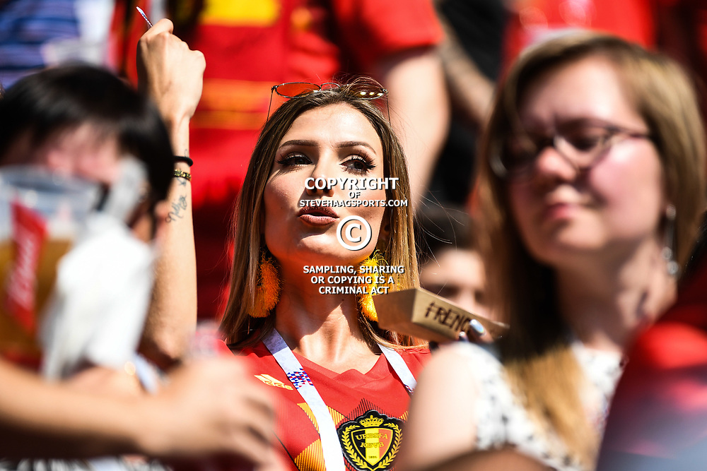 Noemie Happart wife of Yannick Carrasco during the FIFA World Cup Group G match between Belgium and Tunisia at Spartak Stadium on June 23, 2018 in Moscow, Russia. (Photo by Anthony Dibon/Icon Sport)