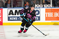 KELOWNA, BC - SEPTEMBER 21:  Liam Kindree #26 of the Kelowna Rockets skates with the puck against the Spokane Chiefsat Prospera Place on September 21, 2019 in Kelowna, Canada. (Photo by Marissa Baecker/Shoot the Breeze)