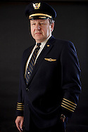 Portrait of Captain Denny Fitch, the off-duty DC-10 training captain who helped pilot United Airlines Flight 232 which crash landed in Sioux City, Iowa in 1989.  All hydraulic controls on the plane were lost due to catastrophic failure in one of the engines.  Fitch, traveling as a passenger, offered to assist Captain Al Haynes and crew fly the plane to Sioux City using differential throttle adjustment, the longest time aloft without flight controls. 185 out of the 296 people on-board survived the crash landing.