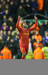 28.01.2014, Anfield, Liverpool, ENG, Premier League, FC Liverpool vs FC Everton, 23. Runde, im Bild Liverpool's Daniel Sturridge celebrates scoring the second goal against Everton // during the English Premier League 23th round match between Liverpool FC and Everton FC at Anfield in Liverpool, Great Britain on 2014/01/29. EXPA Pictures &copy; 2014, PhotoCredit: EXPA/ Propagandaphoto/ David Rawcliffe<br /> <br /> *****ATTENTION - OUT of ENG, GBR*****