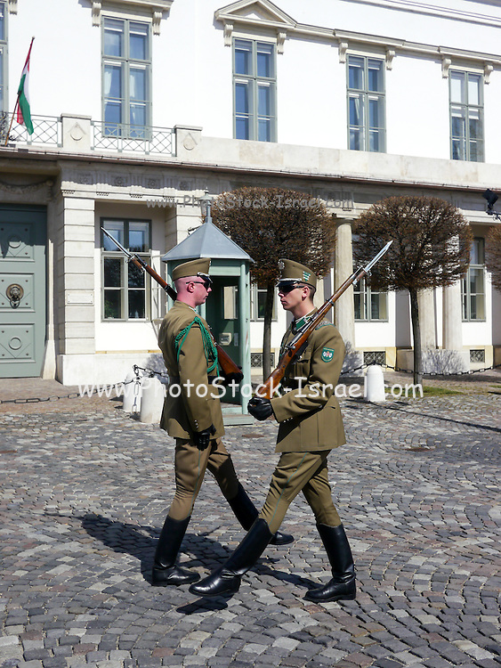 Changing of the guards in front of the Presidential Palace Sandor Palace on Castle Hill, Budapest, Hungary