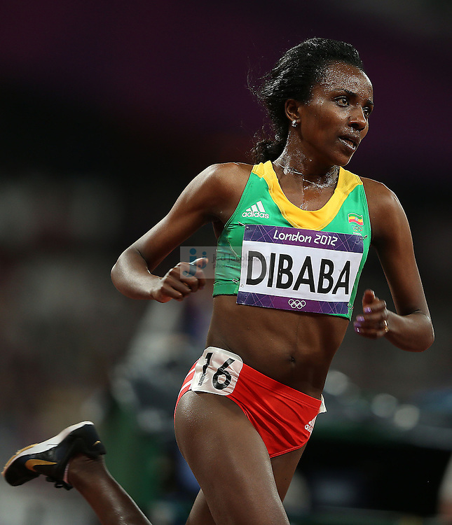 Tirunesh Dibaba of Ethiopia runs during the women's 10000m final during track and field at the Olympic Stadium during day 6 of the London Olympic Games in London, England, United Kingdom on August 3, 2012..(Jed Jacobsohn/for The New York Times)..