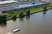 Nederland, Zuid-Holland, Ridderkerk, 23-05-2011;  Nieuwe Maas. Boon distibutiecentrum in de vorm van oceaanstomer. Distribution center, building in the form of ocean steamer at the Nieuwe Maas...luchtfoto (toeslag), aerial photo (additional fee required).copyright foto/photo Siebe Swart