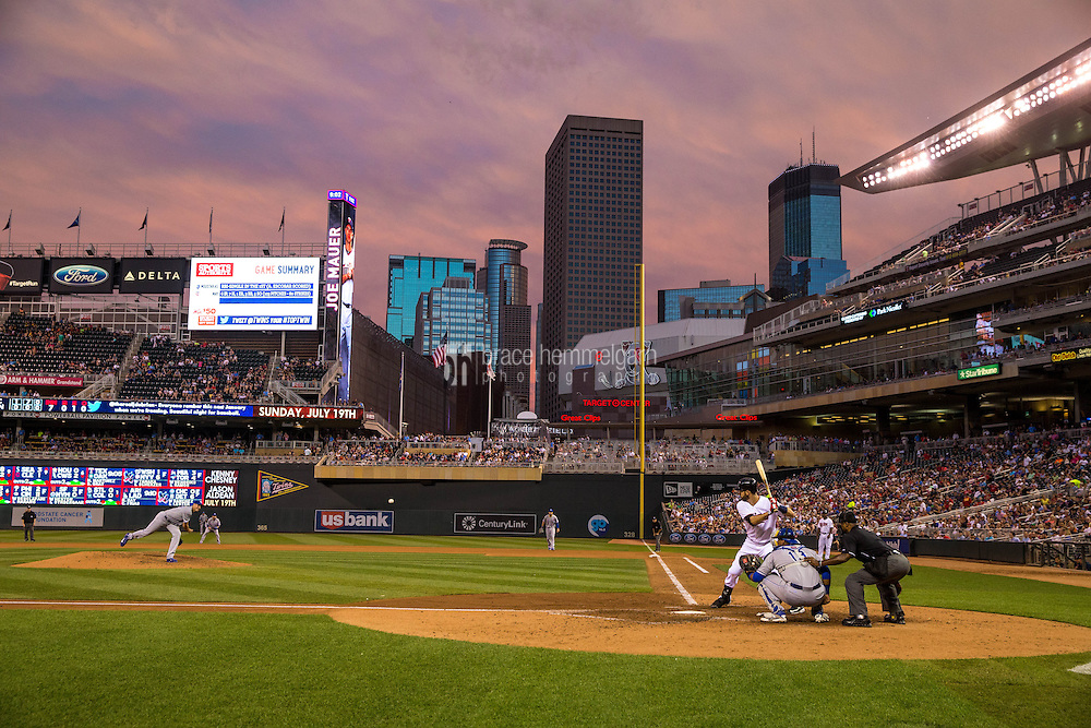 MINNEAPOLIS, MN- JUNE 09: A general view of Target Field as Joe Mauer #7 of the Minnesota Twins bats against the Kansas City Royals on June 9, 2015 at Target Field in Minneapolis, Minnesota. The Royals defeated the Twins 2-0. (Photo by Brace Hemmelgarn) *** Local Caption ***