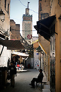 Morocco, Fez. Narrow street of the medina.