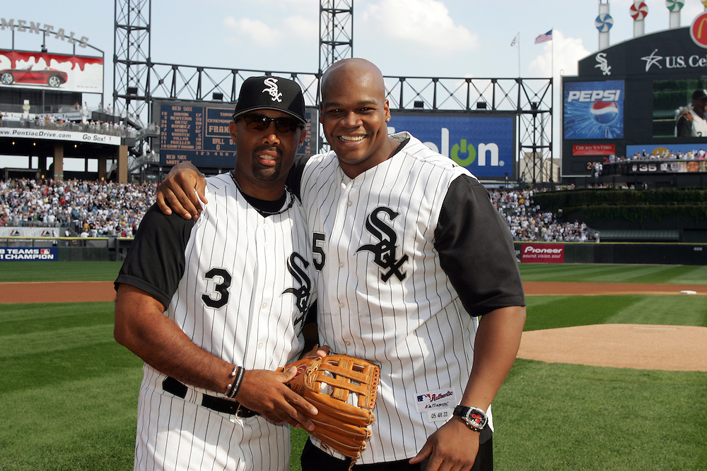 CHICAGO - OCTOBER 4:  Frank Thomas #35 poses with Harold Baines #3 of the Chicago White Sox prior to Game One of the ALCS at U.S. Cellular Field on October 4, 2005 in Chicago, Illinois.  Thomas played for the White Sox from 1990-2005.  (Photo by Ron Vesely)