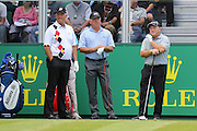 Sandy Lyle, Mark O'Meara and Ian Woosnam at the first tee during The Senior Open Championship at Sunningdale Golf Club, Sunningdale, United Kingdom on 23 July 2015. Photo by Ellie Hoad.