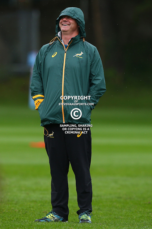 EASTBOURNE, ENGLAND - SEPTEMBER 16: Heyneke Meyer (Head Coach) of South Africa during the South African Springboks training session at Eastbourne College on September 16, 2015 in Eastbourne, England. (Photo Steve Haag Emirates)