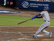 Hanley Ramirez hits a home run during Game 2 of the National League Division Series, Friday, Oct. 4, 2013, in Atlanta. (AP Photo/Mike Zarrilli)