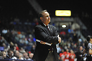 "Mississippi State Lady Bulldogs head coach Vic Schaefer reacts against Mississippi at the C.M. ""Tad"" Smith Coliseum in Oxford, Miss. on Thursday, January 22, 2015. (AP Photo/Oxford Eagle, Bruce Newman)"