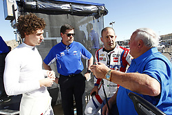February 8, 2018 - Avondale, Arizona, United States of America - February 08, 2018 - Avondale, Arizona, USA: Matheus Leist (4), Tony Kanaan (14) and A. J. Foyt talk on pit road during the Prix View at ISM Raceway in Avondale, Arizona. (Credit Image: © Justin R. Noe Asp Inc/ASP via ZUMA Wire)