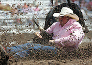 Steer Wrestler NICK STUBBLEFIELD scores a 9.1 in competition, 26 July 2007, Cheyenne Frontier Days