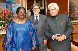 Mar 10, 2005; Cape Town, AFRICA; Indian External Affairs Minister, K. NATWAR SINGH (L), Foreign Minister of Brazil, CELSO AMORIM (2-R) and the Foreign Minister of South Africa, DR. NKOSAZANA DLAMINI-ZUMA (R) poses for a photograph before the opening of Second Trilateral Commission in Cape Town.