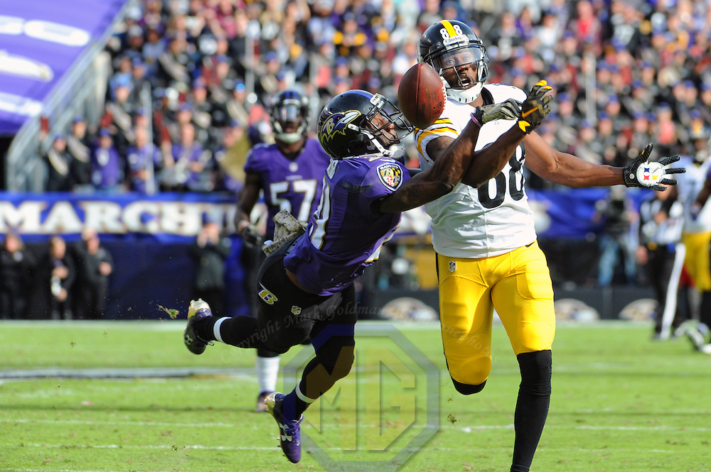 BALTIMORE, MD - NOVEMBER 06: Pittsburgh Steelers wide receiver Darrius Heyward-Bey (88) cannot come up with a long pass attempt and is injured on the defensive play of Baltimore Ravens free safety Lardarius Webb (21) in the second quarter on November 6, 2016, at M&T Bank Stadium in Baltimore, MD.  (Photo by Mark Goldman/Icon Sportswire)