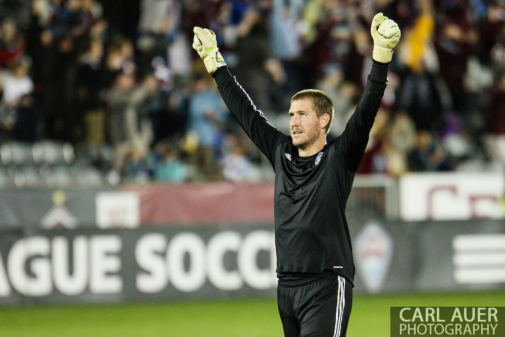 September 14th, 2013 -  Colorado Rapids goalkeeper Clint Irwin (31) celebrates a Rapids goal in the second half of the MLS Soccer game between FC Dallas and the Colorado Rapids at Dick's Sporting Goods Park in Commerce City, CO