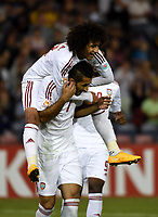 Fotball<br /> Asia Cup / Asiamesterskapet<br /> 30.01.2015<br /> Bronsefinale<br /> Irak v Forenede Arabiske Emirater<br /> Foto: imago/Digitalsport<br /> NORWAY ONLY<br /> <br /> Ali Ahmed Mabkhout (front) of the United Arab Emirates celebrates for his goal with his teammate Omar Abdulrahman during the third and fourth final match against Iraq at the 2015 AFC Asian Cup in Newcastle, Australia, Jan. 30, 2015. The United Arab Emirates won 3-2.