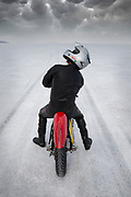 Image of a motorcyclist on the Bonneville Salt Flats during World of Speed, Utah, American Southwest
