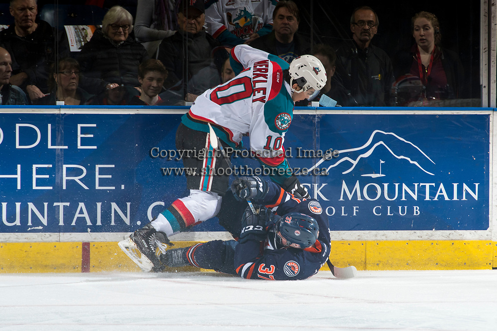 KELOWNA, CANADA - MARCH 24: Nick Merkley #10 of the Kelowna Rockets checks Joe Gatenby #37 of the Kamloops Blazers during first period on March 24, 2017 at Prospera Place in Kelowna, British Columbia, Canada.  (Photo by Marissa Baecker/Shoot the Breeze)  *** Local Caption ***