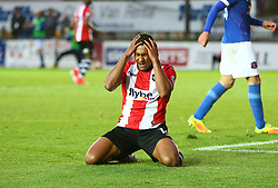 Ollie Watkins of Exeter City looks dejected after missing a chance - Mandatory by-line: Gary Day/JMP - 18/05/2017 - FOOTBALL - St James Park - Exeter, England - Exeter City v Carlisle United - Sky Bet League Two Play-off Semi-Final 2nd Leg