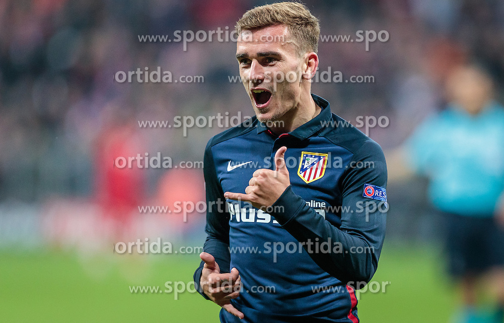 03.05.2016, Allianz Arena, Muenchen, GER, UEFA CL, FC Bayern Muenchen vs Atletico Madrid, Halbfinale, Rueckspiel, im Bild Torjubel Antoine Griezmann (Atletico Madrid) // Antoine Griezmann (Atletico Madrid) celebrate his Goal during the UEFA Champions League semi Final, 2nd Leg match between FC Bayern Munich and Atletico Madrid at the Allianz Arena in Muenchen, Germany on 2016/05/03. EXPA Pictures © 2016, PhotoCredit: EXPA/ JFK