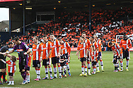 Picture by David Horn/Focus Images Ltd +44 7545 970036.16/02/2013.Luton Town players before ther game against Millwall in the The FA Cup match at Kenilworth Road, Luton.