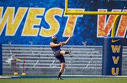 Sep 5, 2015; Morgantown, WV, USA; West Virginia Mountaineers punter Nick O'Toole warms up prior to their game against the Georgia Southern Eagles at Milan Puskar Stadium. Mandatory Credit: Ben Queen-USA TODAY Sports